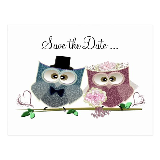 Cute Wedding Owls Postcard