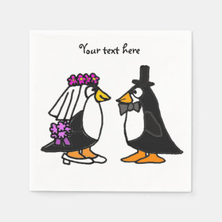 Cute Wedding Penguins Paper Napkins