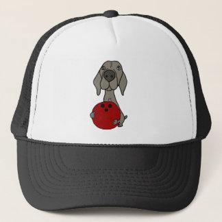 Cute Weimaraner Dog Bowling Cartoon Trucker Hat