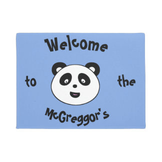 Cute Welcome Panda, Add Surname Doormat