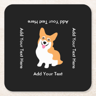 Cute Welsh Pembroke Corgi Puppy Square Paper Coaster