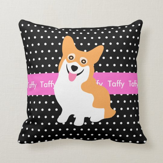 Cute Welsh Pembroke Corgi Your Dog's Name Throw Pillow