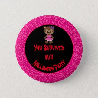 Cute Werewolf Girl Halloween Party 2 Inch Round Button