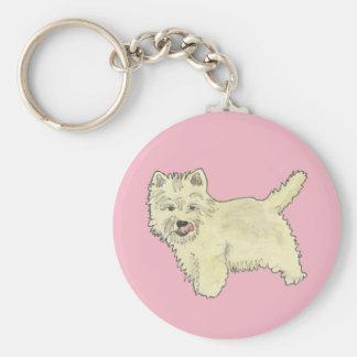 Cute West Highland Terrier Dog Art Painting Design Keychain