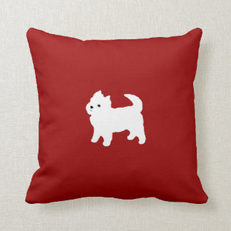Cute West Highland Terrier White Puppy Red Throw Pillow