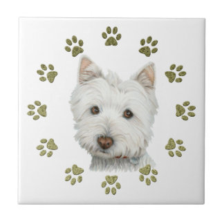 Cute West Highland White Terrier Dog and Paws Tile