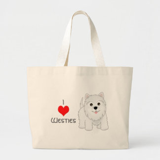 Cute West Highland White Terrier Puppy Dog Large Tote Bag