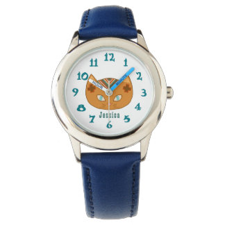 Cute Western Cat And Teal Name Watch