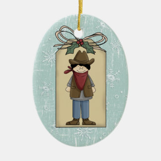 Cute Western Cowboy Gift Tag Keepsake Ceramic Ornament
