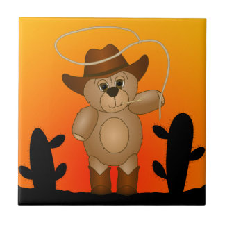 Cute Western Cowboy Teddy Bear Cartoon Mascot Tile