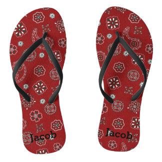 Cute Western Red Bandana Flip Flops