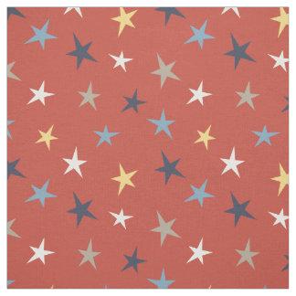 Cute Western Stars on Red Fabric