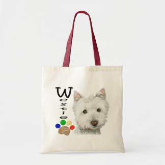 Cute Westie and Paw Print Art gift bag