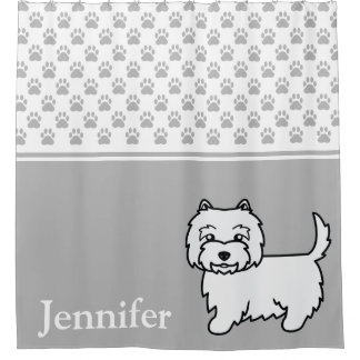 Cute Westie Cartoon Dog With Name And Paws Gray