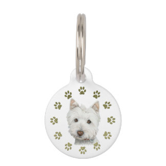 Cute Westie Dog and Paws Art Dog Tag