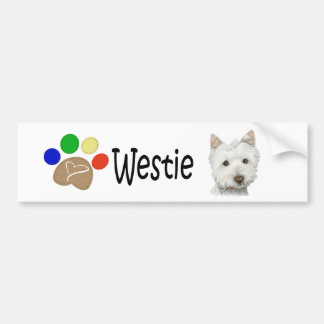Cute Westie Dog and Paws Art Gifts Bumper Sticker