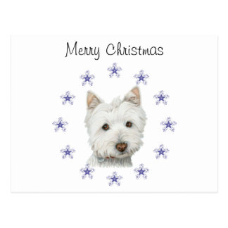 Cute Westie Dog Art and Christmas Snowflakes Postcard