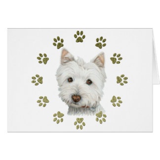 Cute Westie Dog Art and Paws Card