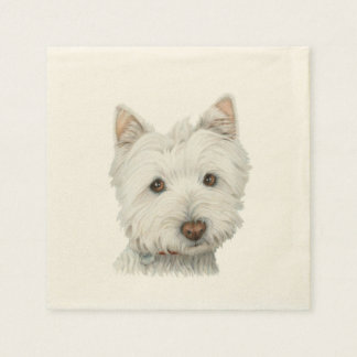 Cute Westie Dog Art Cocktail Napkin Disposable Napkin