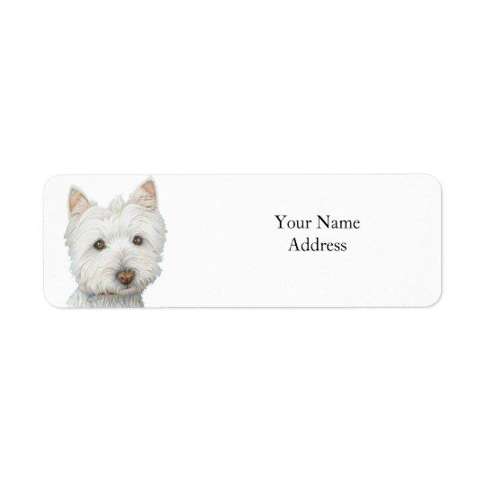 Cute Westie Dog Avery Label