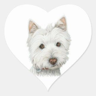 Cute Westie Dog heart sticker