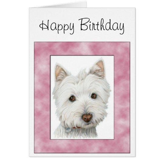 Cute Westie Dog in Pink Frame Art Card