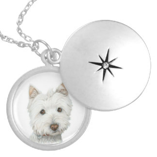 Cute Westie Dog Silver Necklace