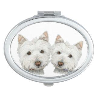 Cute Westie Dogs Art Oval Compact Mirror