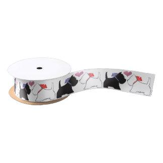 Cute Westie Dogs Art Ribbon Satin Ribbon