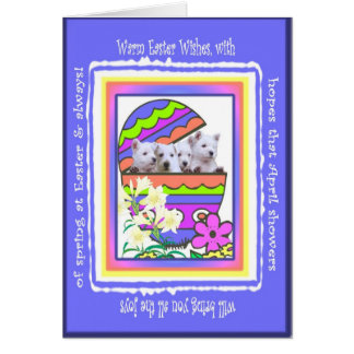 Cute Westie Happy Easter Wishes Card