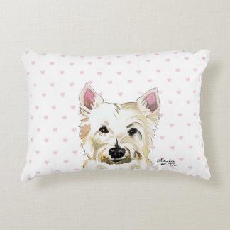 Cute Westie Highland Terrier Pillow Pink Hearts