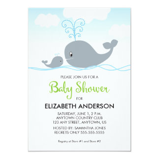 Cute Whale and Baby Whale, Baby Shower Invitation