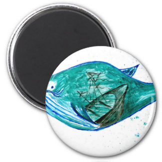 Cute Whale Art2 2 Inch Round Magnet