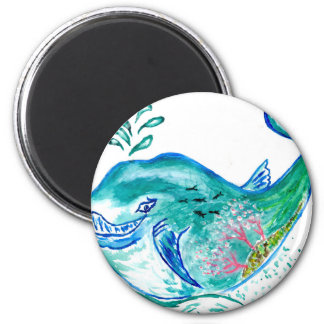 Cute Whale Art 2 Inch Round Magnet