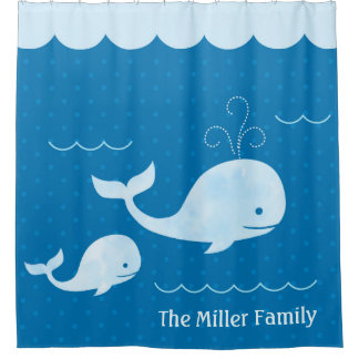 Cute Whale Family Blue Underwater Dots