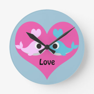 Cute Whale Love Clock