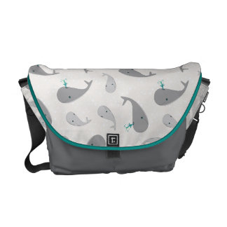 Cute Whale Mom and Baby Pattern Messenger Bags