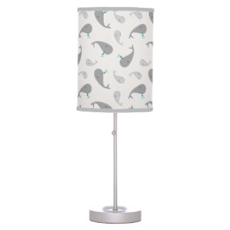 Cute Whale Mom and Baby Pattern Table Lamp