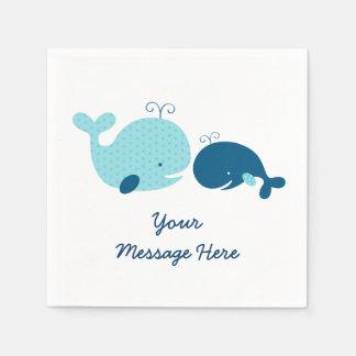 Cute Whale Personalized Napkins Disposable Napkins