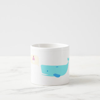 Cute whale with cupcake speaking bubble mug