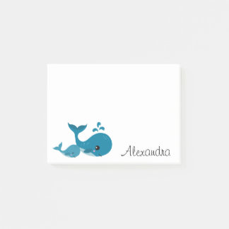 Cute whales personalized name post-it notes