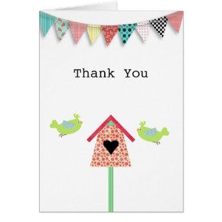 Cute Whimsical Birds And Birdhouse Thank You Card
