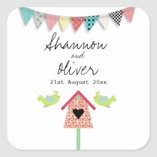 Cute Whimsical Birds And Birdhouse Wedding Favor Square Sticker