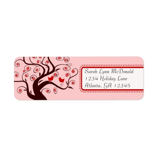 Cute Whimsical Birds in Swirl Tree Red Pink Trim