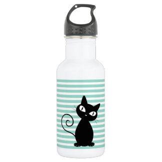 Cute Whimsical Black Cat on Stripes 532 Ml Water Bottle