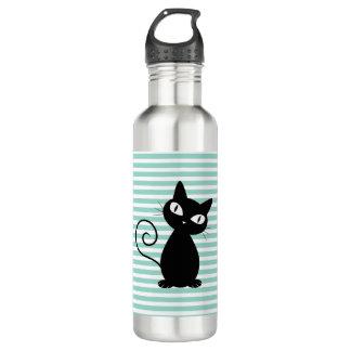 Cute Whimsical Black Cat on Stripes 710 Ml Water Bottle