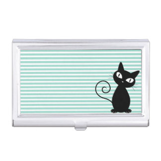 Cute Whimsical Black Cat on Stripes Business Card Holder