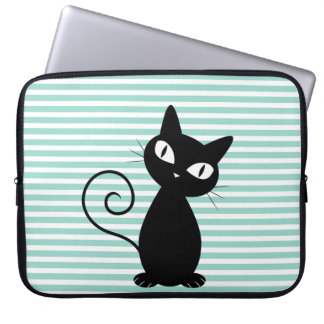 Cute Whimsical Black Cat on Stripes Computer Sleeve