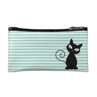Cute Whimsical Black Cat on Stripes Cosmetic Bag