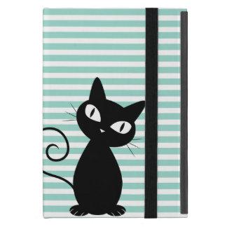 Cute Whimsical Black Cat on Stripes Cover For iPad Mini